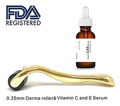 Microneedle Roller for Wrinkles With Vitamin C & E Serum by Dermapeel